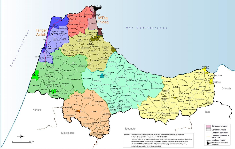 خريطة الجماعات الترابية للجهة مأخوذة من منوغرافيا جهة طنجة تطوان الحسيمة 2015 .